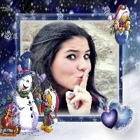 moldura-de-natal-com-ursinhos-e-boneco-de-neve