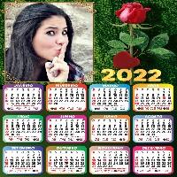 montar-foto-gratis-calendario-2022-rosa-vermelha