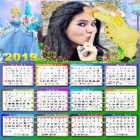 calendario-2019-moldura-cinderela