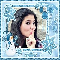 moldura-azul-com-boneco-de-neve