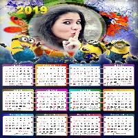 moldura-para-fotos-com-calendario-2019-minions