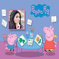 montagem-de-foto-peppa-pig-na-escola-desenhando