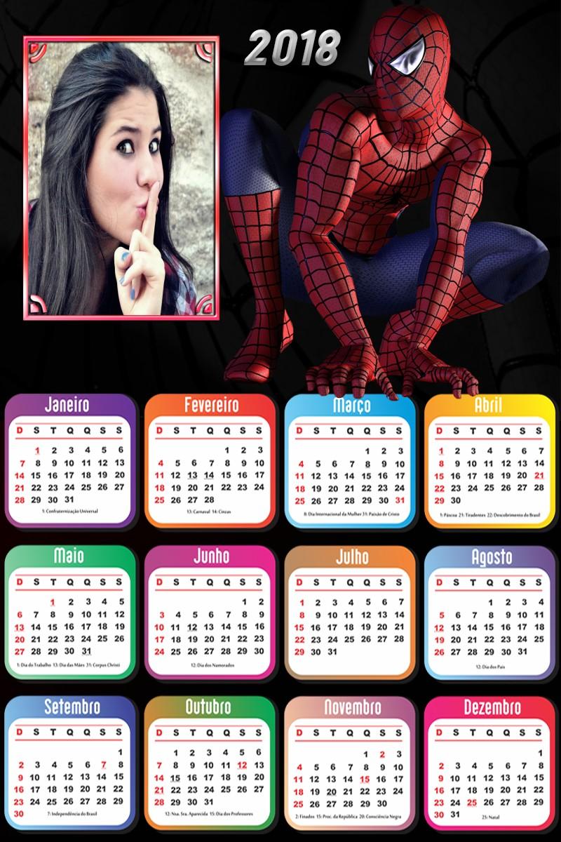 moldura-para-fotos-calendário-2018-do-homem-aranha