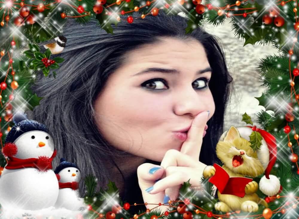fotomontagem-de-gatinho-cantando-com-bonecos-de-neve