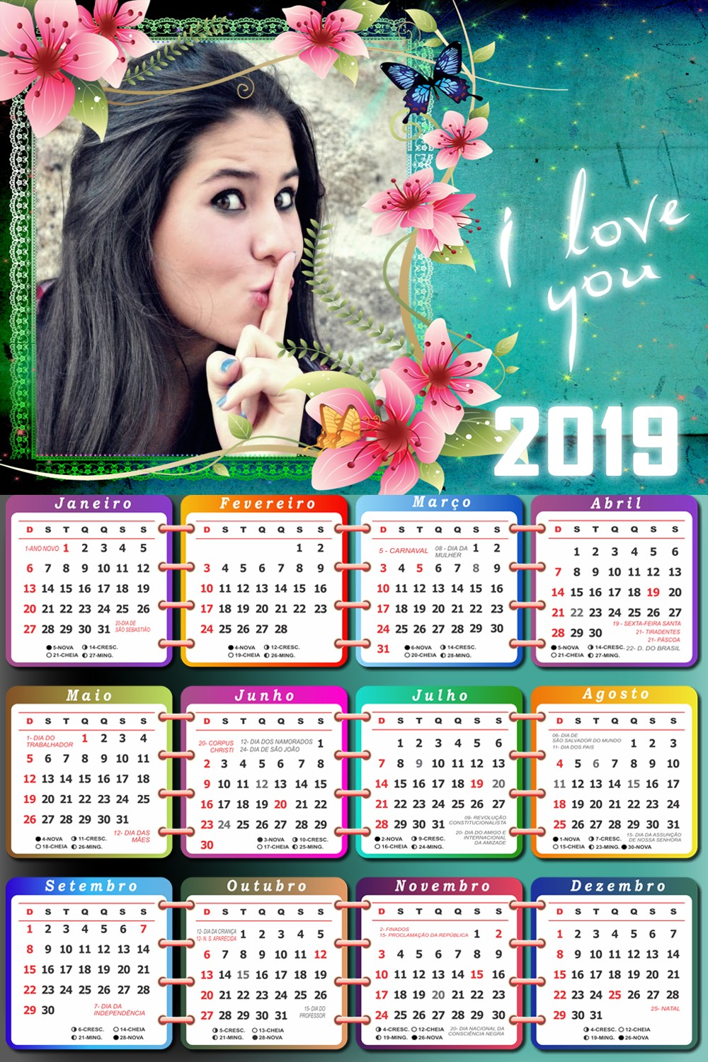 calendario-online-2019-com-flores-i-love-you
