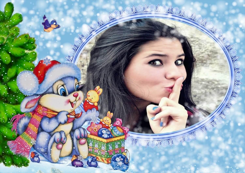 moldura-de-natal-azul-com-coelhinho-na-neve