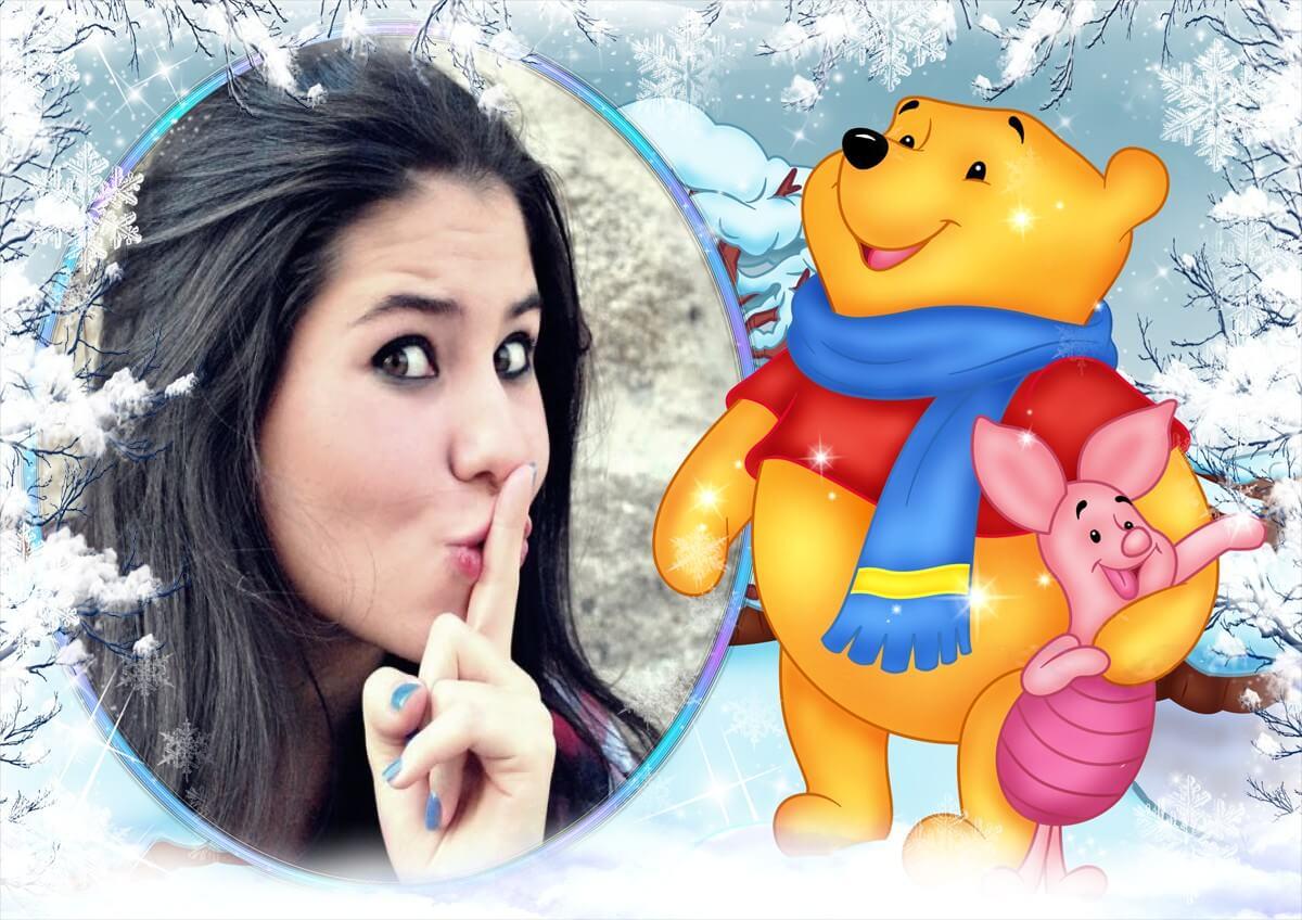 moldura-infantil-com-ursinho-pooh-na-neve