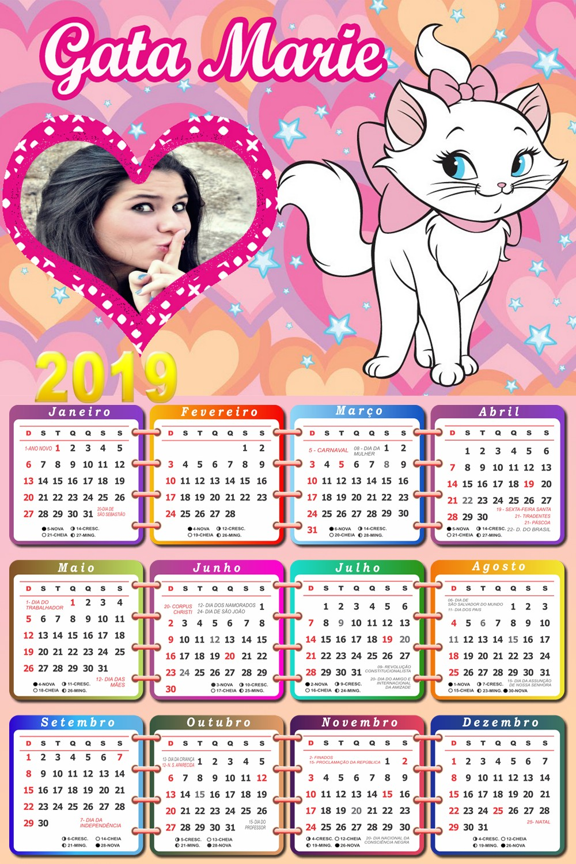 calendario-2019-em-rosa-com-gata-marie-disney