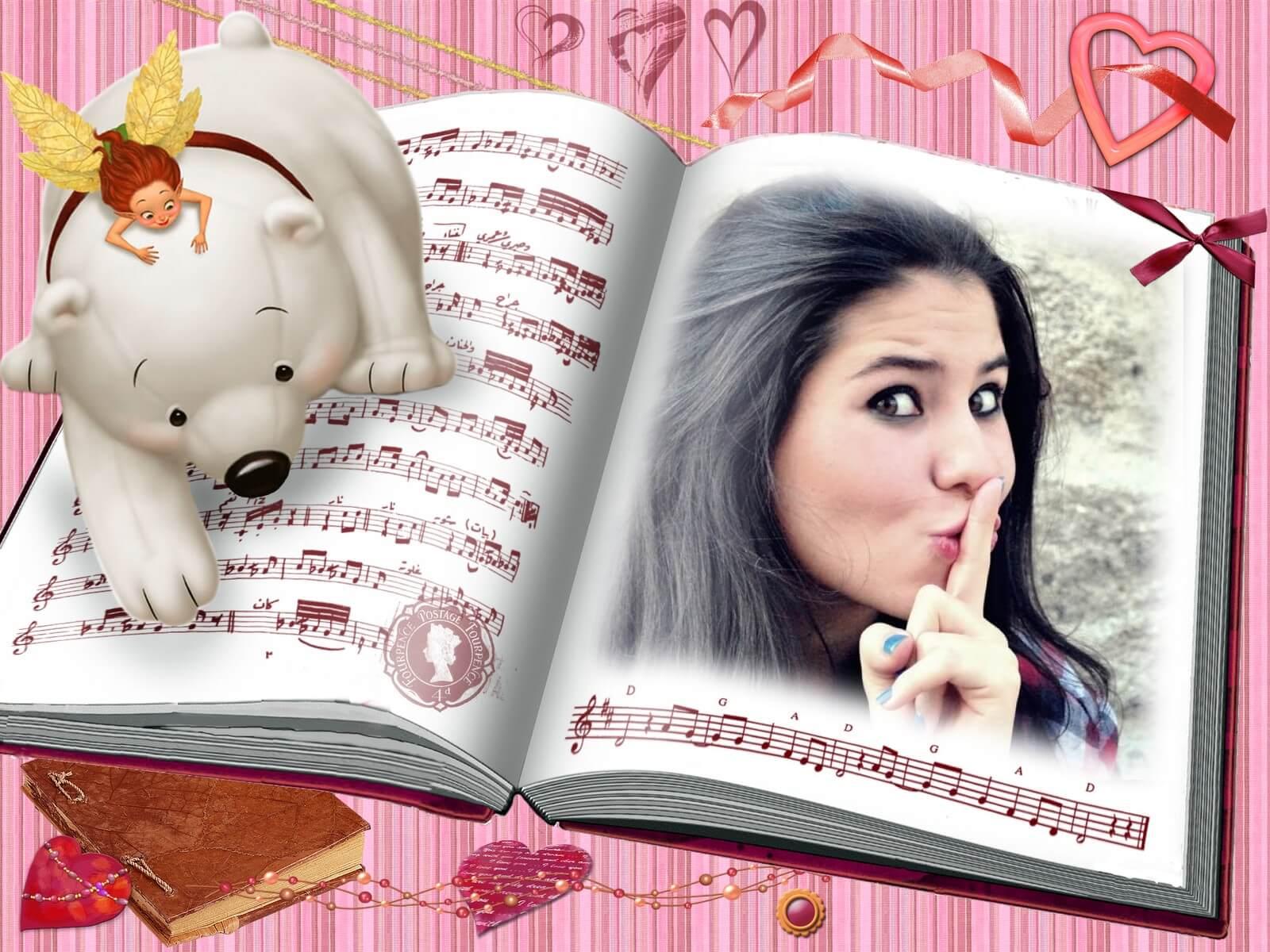 fada-ursinho-e-livro-moldura-rosa