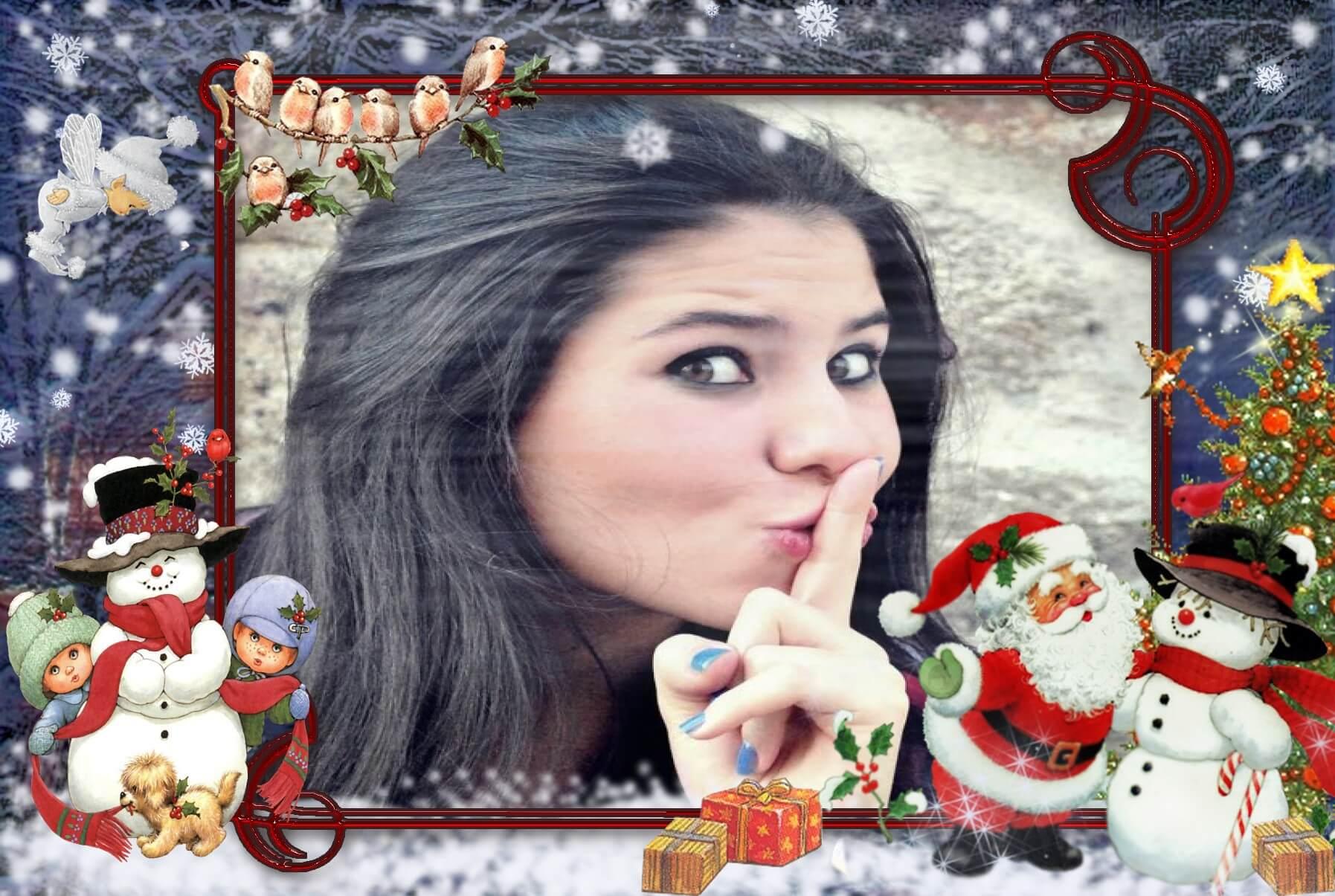 fotomontagem-natalina-gratis-online-com-papai-noel-e-bonecos-de-neve