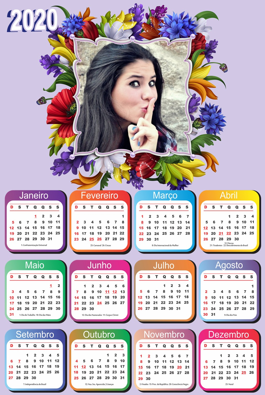 monta-foto-calendario-2020-gratis-com-flores