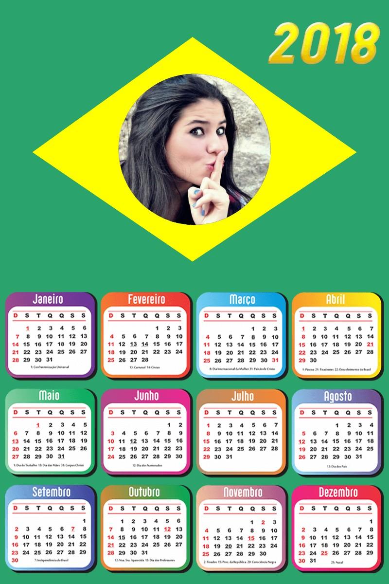 colocar-foto-em-calendario-2018-bandeira-do-brasil