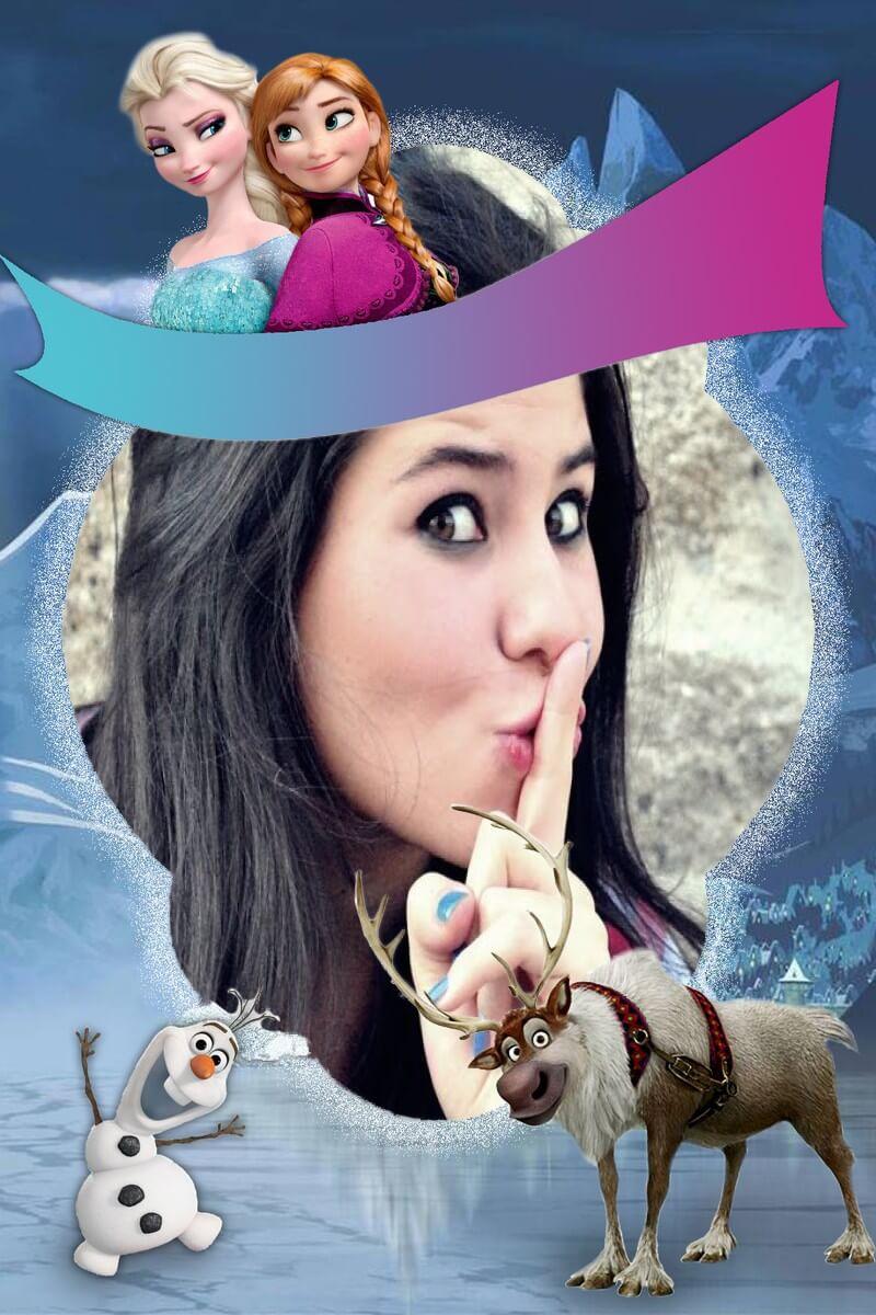monta-foto-com-as-princesas-elsa-e-anna-de-frozen-e-olaf-e-sven
