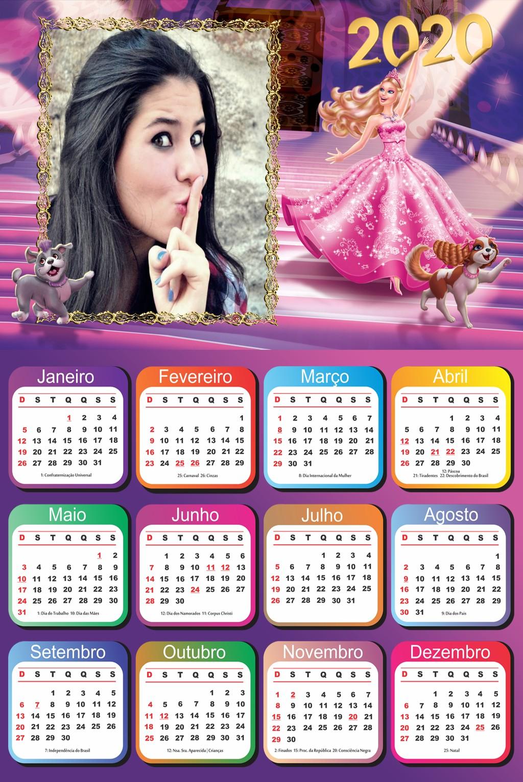 calendario-com-foto-gratuito-2020-barbie-princesa