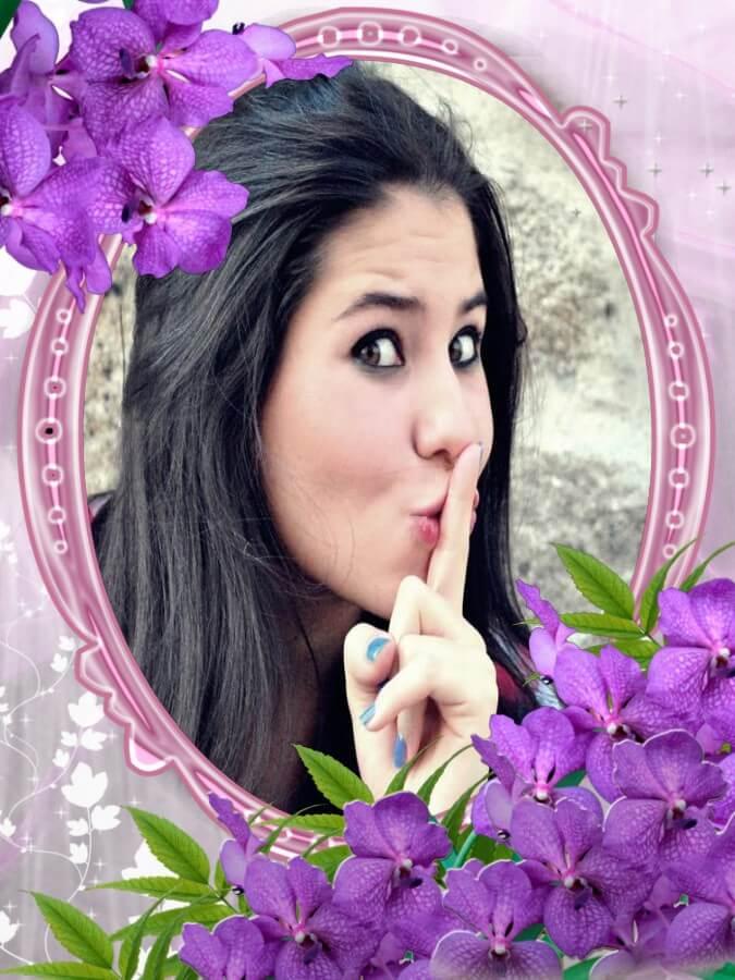 moldura-de-fotos-com-flores-em-cor-lilas