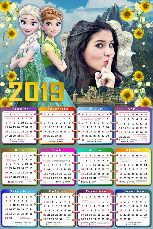 moldura-para-fotos-com-calendario-2019-elsa-e-anna