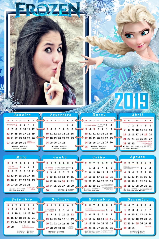 montagem-de-fotos-gratis-com-calendario-2019-elsa-frozen