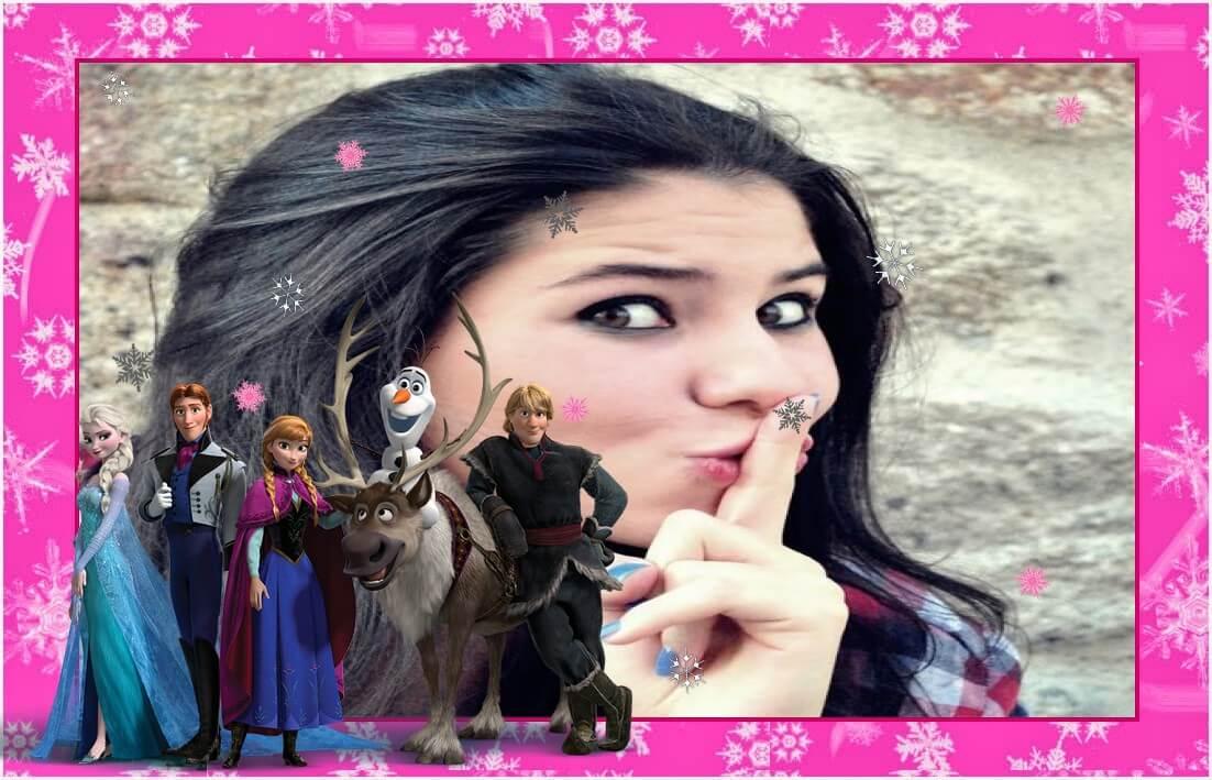 moldura-de-fotos-rosa-frozen-da-disney