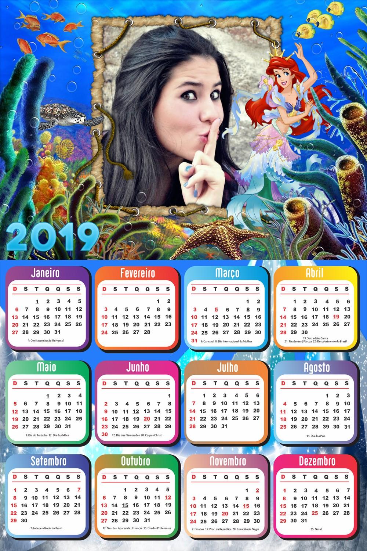 moldura-para-foto-da-ariel-princesa-disney-com-calendario-2019