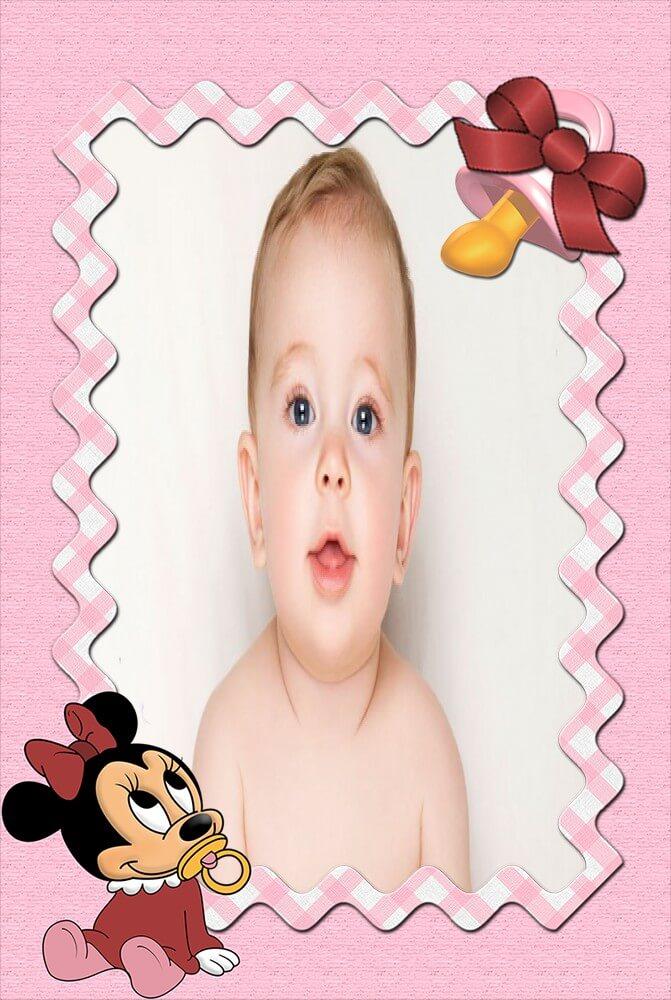 minnie-baby-com-chupeta-moldura-rosa