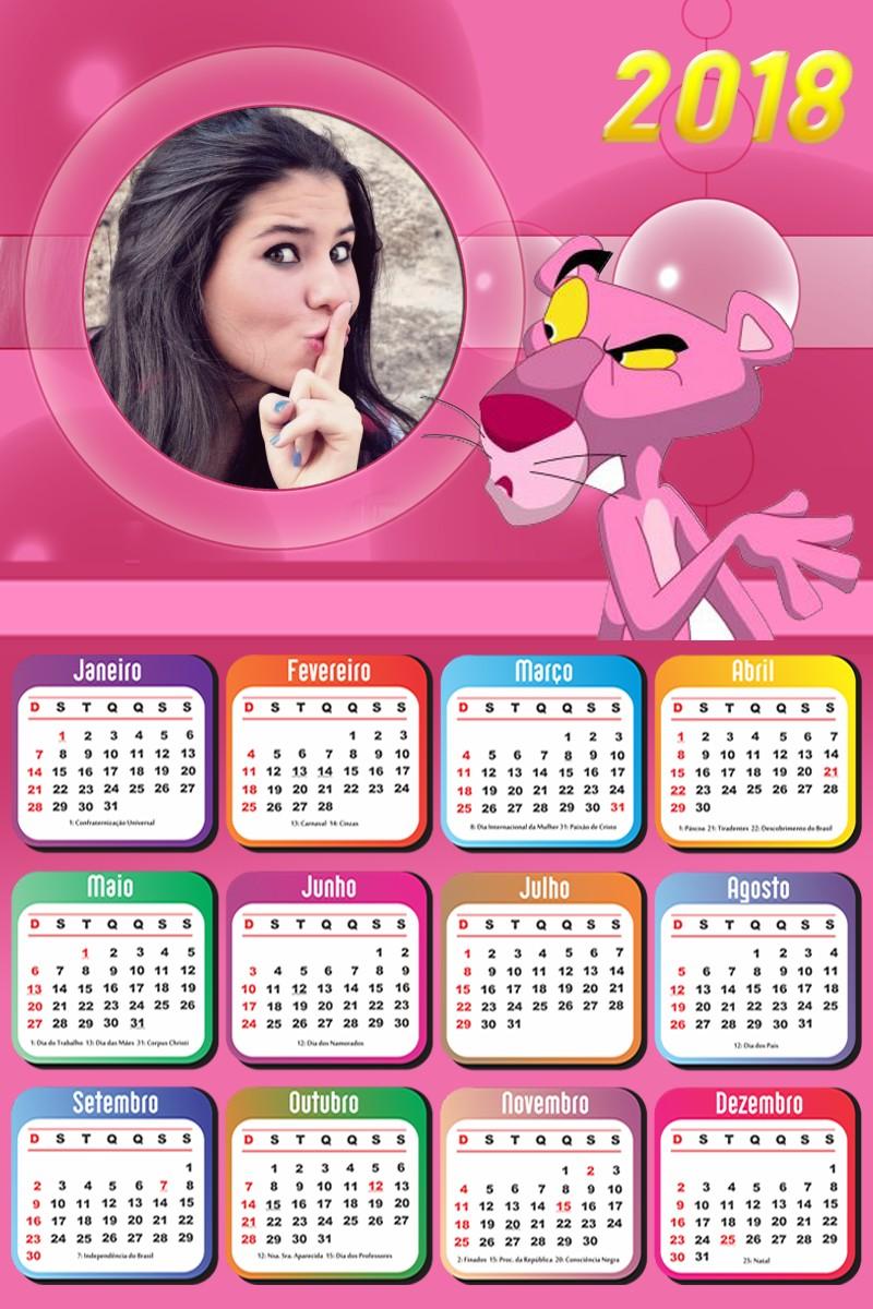 Calendario Rosa Png.Montagem De Fotos Calendario Calendario 2018 A Pantera