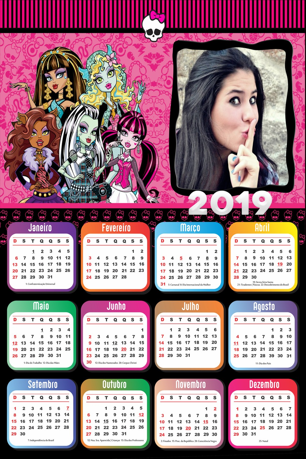 moldura-infantil-monster-high-calendario-2019